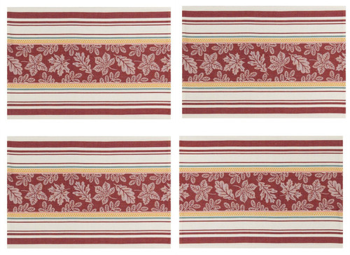 Autumn Leaves Jacquard Print Kitchen Dining Placemats Set of 4