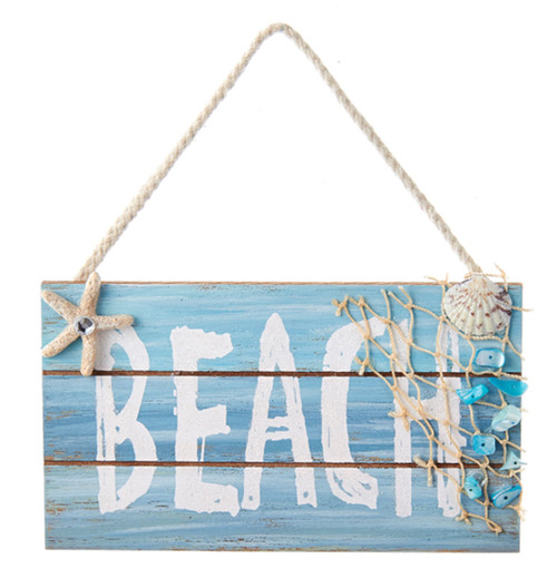 Blue Beach Sign with Starfish and Shells Christmas Holiday Ornament
