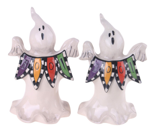 Boo Spooky Halloween Ghosts Holding Banner Salt and Pepper Shakers Set