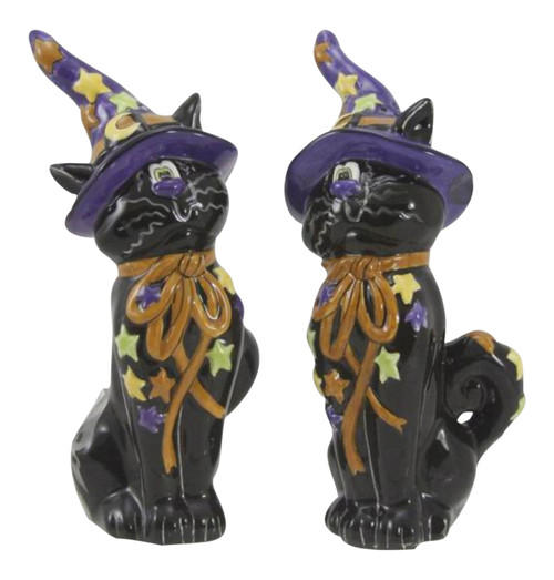 Black Cats in Witches Hats Halloween Salt and Pepper Shakers Set