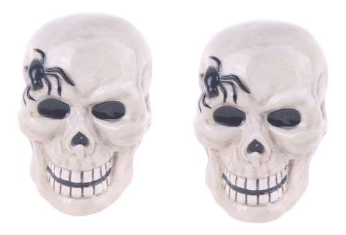 Smiling Skeleton Skulls with Spiders Halloween Salt and Pepper Shakers Set