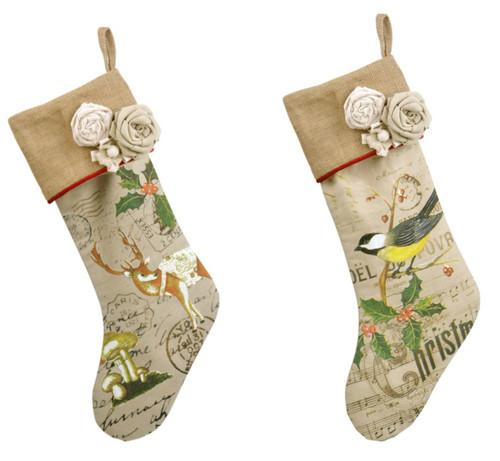 Burlap with Rag Flowers Bird and Deer Print Christmas Holiday Stockings Set of 2