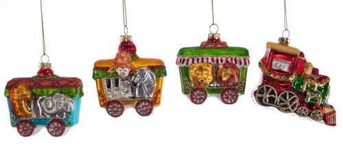 Choo Choo Train Christmas Holiday Glass Ornaments Set of 4