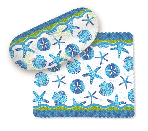 Beach Batik Shells and Starfish Sunglasses Case with Lens Cloth