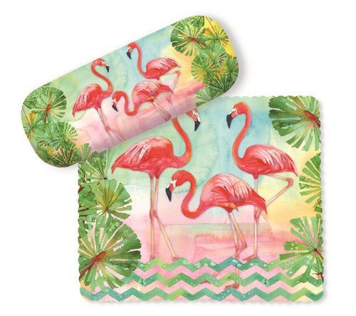 Pretty Flamingos and Palms Eyeglasses Case and Lens Cloth