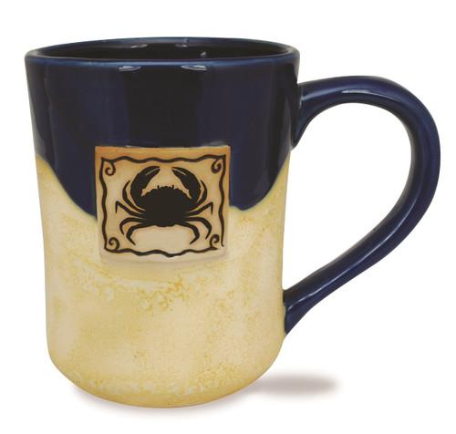 Blue Crab Tan Stoneware Potters Coffee Tea Mug 16 Ounces