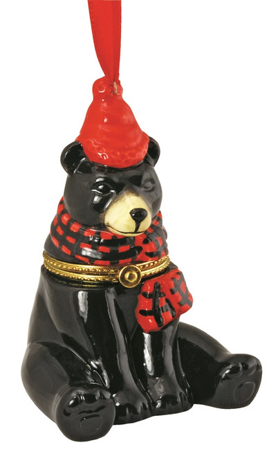 Black Bear with Red Hat and Scarf Hinged Box Christmas Holiday Ornament Ceramic