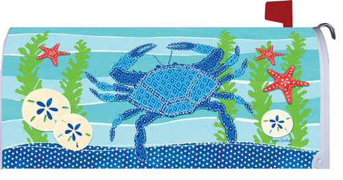 Blue Crab Sand Dollars Starfish and Coral Coastal Magnetic Mailbox Cover Wrap