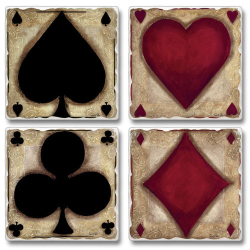 Ante Up Poker Night Stack Deck Tumbled Stone Coasters Set of 4