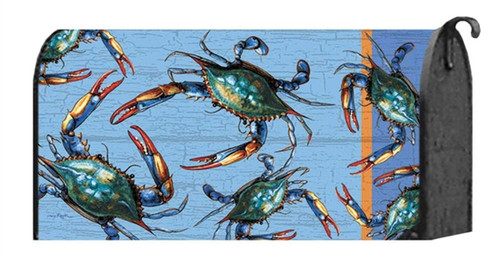 Blue Crabs Coastal Welcome Mailbox Wrap Cover