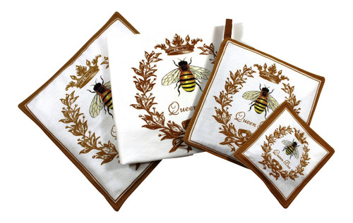 Bee Towel Spiced Hot Pad Pot Holder Spice Mug Mat 4 Piece Kitchen Gift Set