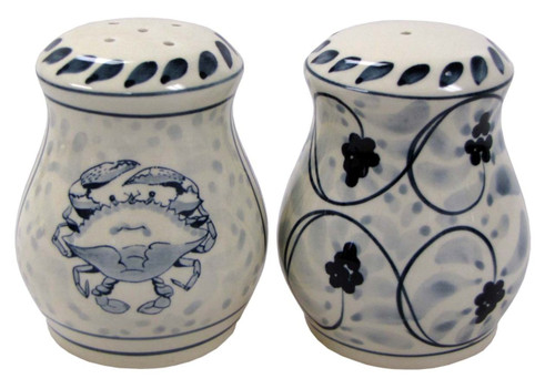 Blue Crab Salt and Pepper Shaker Set Stoneware