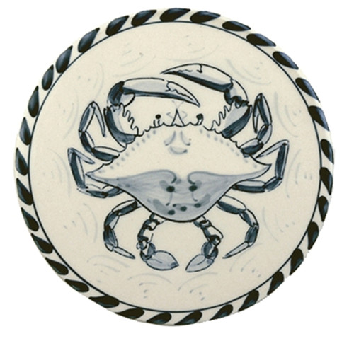 Blue Crab Motif Kitchen or Dining Table Trivet Stoneware