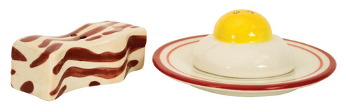Bacon and Eggs Breakfast Food Salt and Pepper Shaker Set Earthenware