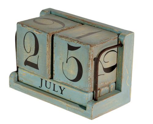 Blue Wood Perpetual Desktop Calendar 7 Inches