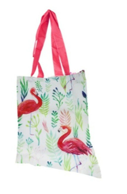 Flamingo Polyester Foldup Shopping Bag with Matching Zippered Storage Pouch
