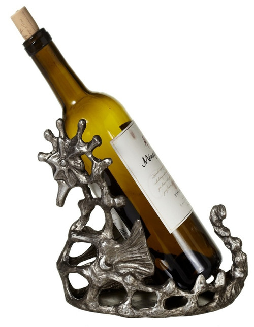 Antiqued Silver Seahorse in Coral Wine Bottle Holder 9.75 Inches