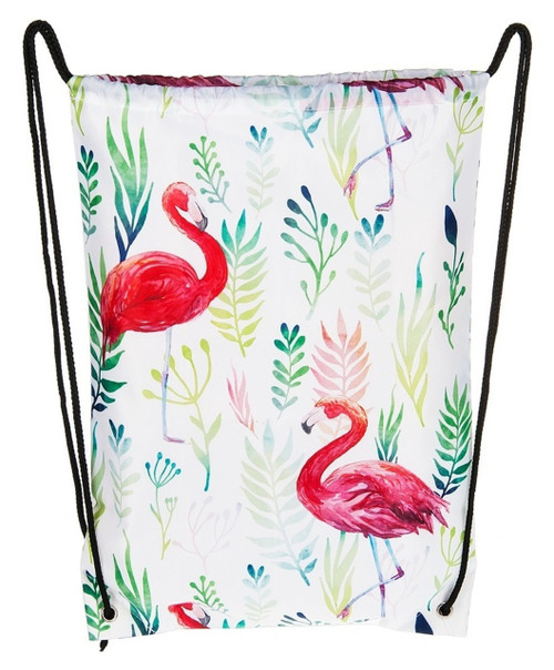 Flamingo Print Polyester Drawstring Backpack Shopping Tote Bag