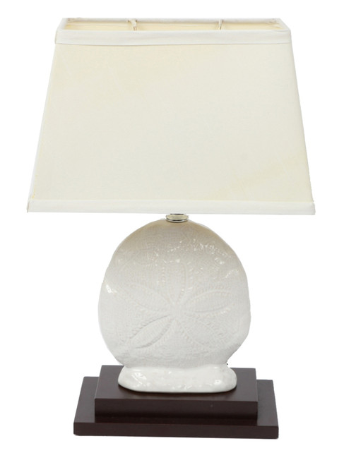 Sand Dollar White Ceramic on Wood Base Table Lamp Electric 15 Inches 40 Watt