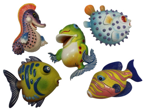 Blue Puffer Seahorse Happy Fish Dimensional Wall Decor Set of 5 Eight Inches