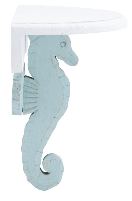 Blue and White Seahorse Half Round Wall Shelf 9.25 Inches