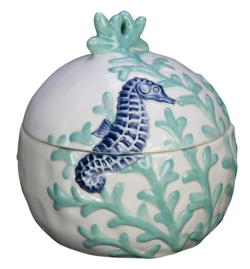 Blue Seahorse Swimming in Coral Round Lidded Box Ceramic