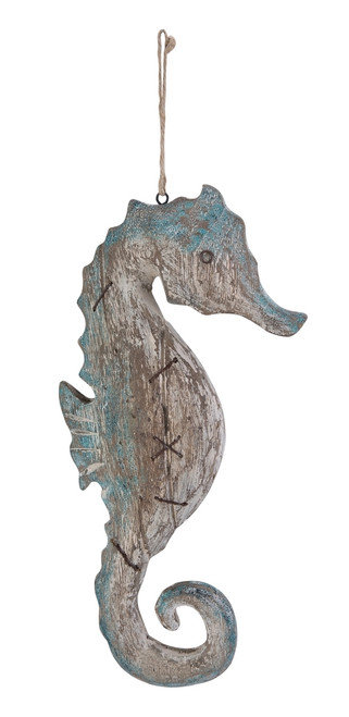 Blue and White Weathered Wood Seahorse Distressed Hanging Wall Decor 16 Inches