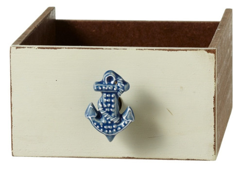 Blue Ships Anchor Drawer Knob Pull Ceramic