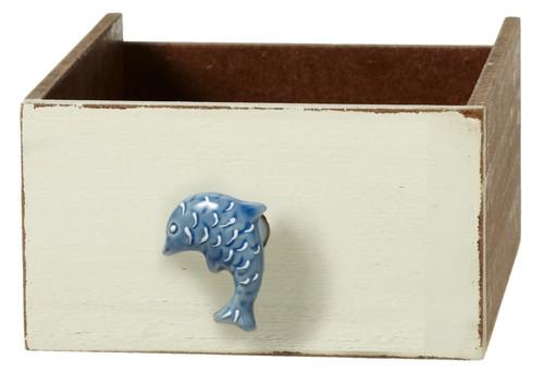Blue Jumping Dolphin Drawer Knob Pull Ceramic