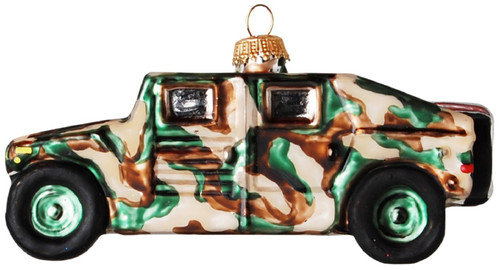 Camo Army Humvee Christmas Holiday Glass Ornament