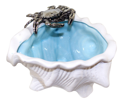 Coastal Crab on White Conch Shell Dish Ceramic and Silver Metal Tabletop Decor