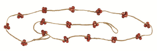 Braided Jute and Red Jingle Bells 6 Foot Holiday Tree Garland