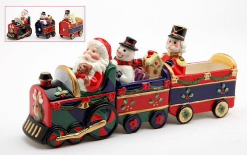 Christmas Holiday Santa Snowman Nutcracker Train Salt and Pepper Shaker Set of 3