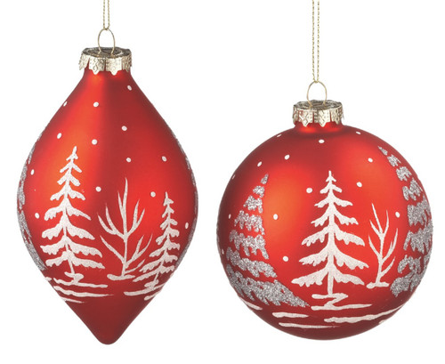 Christmas Red Trees in Snow Scene Glass Holiday Ornaments Set of 2 Midwest CBK