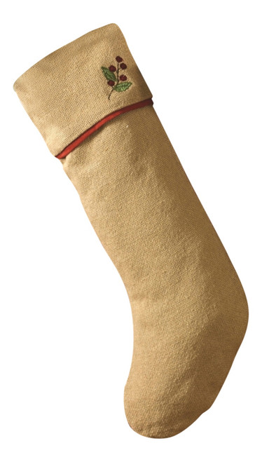 Brown Burlap with Red Berries Trim Christmas Holiday Stocking 24 Inch