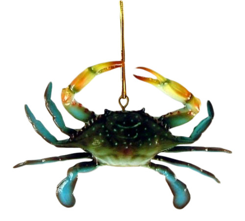 3D Coastal Maryland Blue Crab Tiki Bar Decor Ornament
