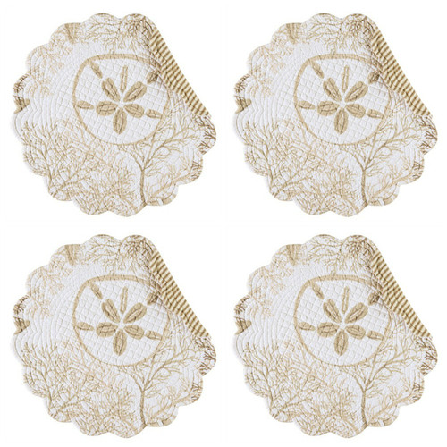 Barefoot Landing Sand Dollar Coral Quilted Round Scalloped Placemats Set of 4