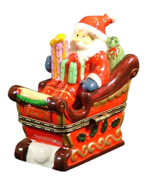 Christmas Santa Sleigh Holiday Trinket Box phb