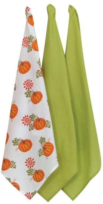 Bountiful Harvest Pumpkin Patch 3 Piece Flour Sack Kitchen Towel Set