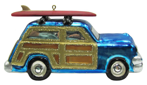 Coastal Surfboard on Blue Woody Car Glass Holiday Ornament
