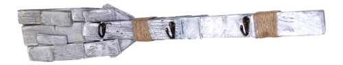Driftwood Whitewashed Boat Oar with Jute and Hooks 30 Inch Wall Décor Plaque