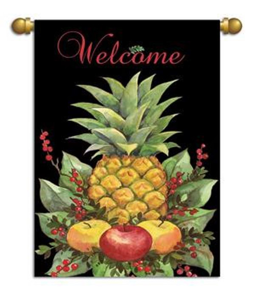 Colonial Pineapple Tropical Welcome 13 x 18 Inch Garden Flag Banner