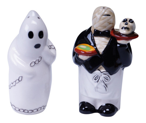 Eat Drink and Be Scary Halloween Ghost Monster 3D Ceramic Salt and Pepper Set