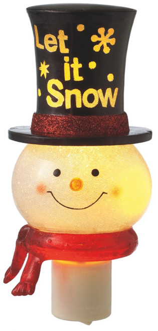 Let It Snow Winter Fun Snowman with Top Hat Acrylic Night Light Electic