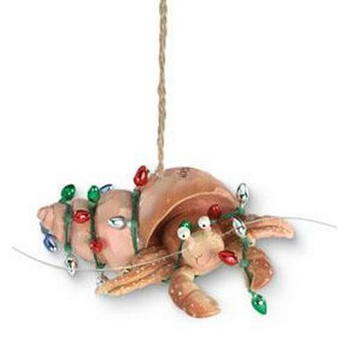 Beachy Coastal Holiday Hermit Crab Wrapped in Holiday Bulbs Christmas Ornament