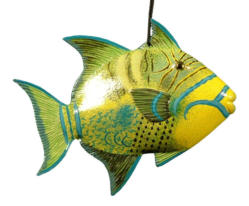 Carribean Sea Hanging Tiki Tropical Trigger Fish Decor 6 inch ORN20