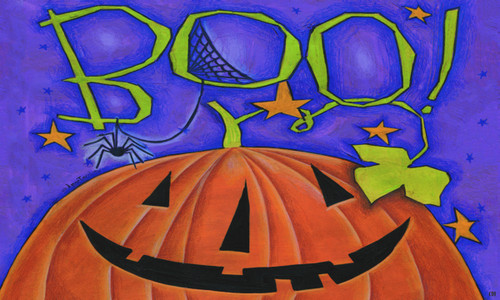 Boo! Great Big Pumpkin Happy Halloween 18 X 30 Inch Floor Mat Rug