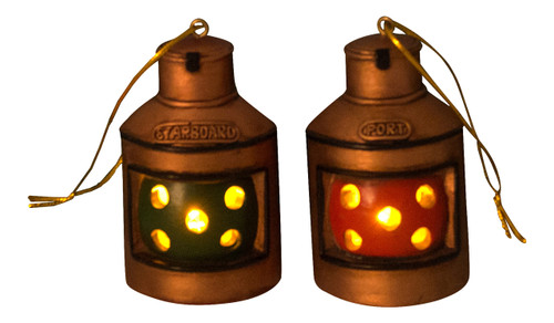 Boater's Red Green Port Starboard Lanterns Holiday Ornaments Lights Up Set of 2