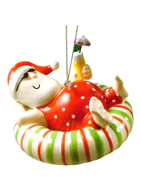 Beachy Coastal Santa Inner Tube Float Christmas Holiday Ornament