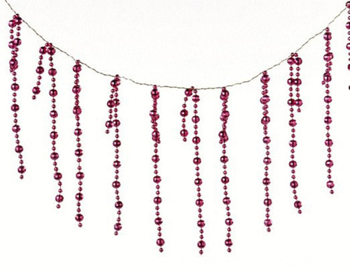 8MM Round Cerise Pink Beaded 6 Foot Christmas Holiday Tree Garland